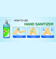set how to use hand sanitizer properly or step vector image