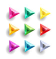 set of cartoon triangle different color crystals vector image vector image