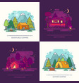 set of outdoor day or night view on camp in forest vector image