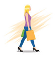 side view a young woman walking with shopping vector image vector image