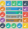 Skier icon sign Set of twenty colored flat round vector image