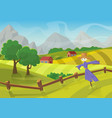 sunny rural landscape with hills trees mountains vector image vector image