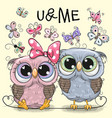 two owls on a hearts background vector image vector image