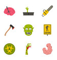 zombie parts icon set flat style vector image vector image