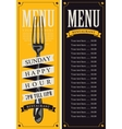 menu with fork for the restaurant vector image