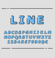 trendy flat font with abstract lines vector image