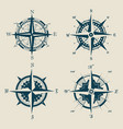 set of old or retro compass or wind rose vector image