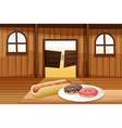 A saloon bar with foods in the table vector image vector image