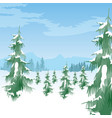 beautiful winter landscape with coniferous trees vector image vector image
