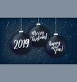 black christmas balls on dark background vector image vector image
