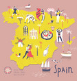 cartoon map spain with legend icons vector image vector image