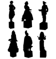 Collection of silhouettes of live statues of peopl vector image vector image