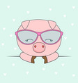 cute head pig in glasses vector image vector image