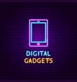 digital gadgets neon label vector image vector image