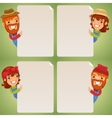 Farmers Cartoon Characters Looking at Blank Poster vector image vector image