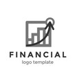 financial logo design template logo with chart vector image vector image