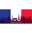 france flag with landmarks skyline background vector image vector image