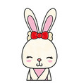 grated adorable and shy rabbit female wild animal vector image vector image