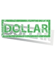 Green outlined DOLLAR stamp vector image
