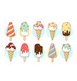 ice cream icons of different types and shapes vector image vector image