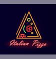 italian pizza restaurant neon street signboard vector image vector image