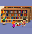 kids reading a book vector image vector image