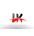 lk l k brush logo letters with red and black vector image