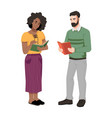 man and woman reading book and chatting together vector image vector image