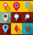 meeting point icons set flat style vector image vector image