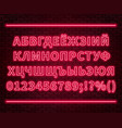 neon cyrillic alphabet with numbers on the brick vector image