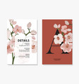 orchid watercolor branch design invitation card vector image vector image