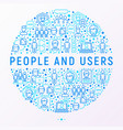 people and users concept in circle vector image
