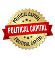 political capital round isolated gold badge vector image vector image