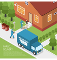 Post Office Parcel Delivery Isometric Poster vector image vector image