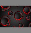 red and black geometric circles tech background vector image vector image