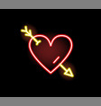 Red heart stricken arrow neon symbol