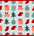 seamless pattern with christmas trees gifts and vector image