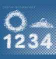 set numbers and figures made out soap foam vector image vector image