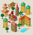 set of isometric buildings with benches trees vector image