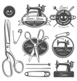 Set of vintage monochrome tailor tools and emblems vector image vector image
