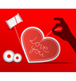 Sewing Paper Heart with Human Hand on Red vector image