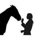 Silhouette of girl with horse on white background vector image