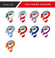 spirit rising fist hand southern europe flag vector image vector image