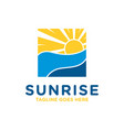 sunrise at sea view logo vector image
