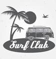 Surf club concept Summer surfing retro badge vector image