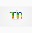 tn t n rainbow colored alphabet letter logo vector image vector image