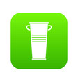 trash can with handles icon digital green vector image vector image