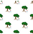 tree and bench woman walks a pet in the park pet vector image