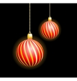Two Christmas red spheres vector image vector image