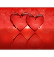 Two crystal hearts and their reflection Gradient vector image vector image